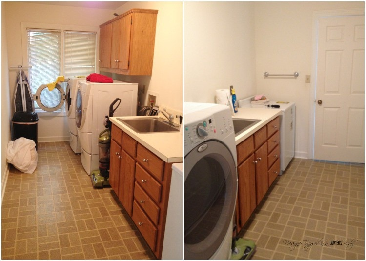 MUST PIN! Amazing DIY laundry room renovation for less than one hundred dollars! #diylaundryroom #laundryroommakeover
