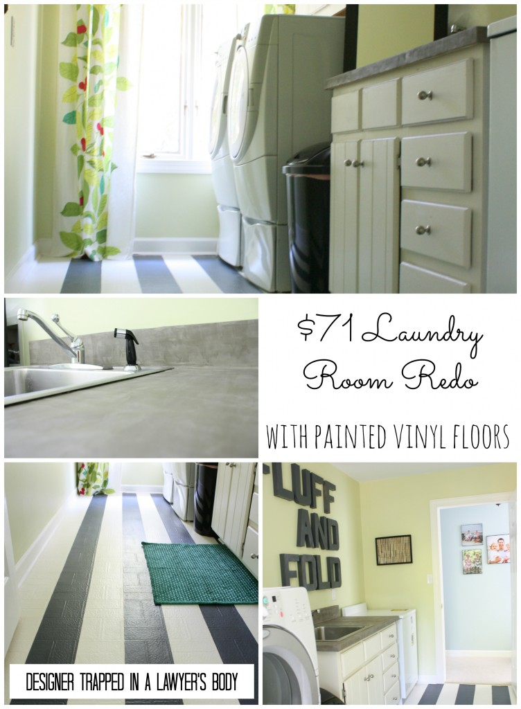 Thrifty laundry room renovation with painted vinyl floors by Designer Trapped in a Lawyer's Body {www.designertrapped.com}