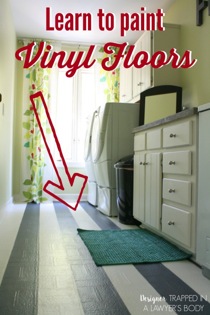 AWESOME! Learn how to paint vinyl floors with this full tutorial. #paintvinylfloors #paintedfloors