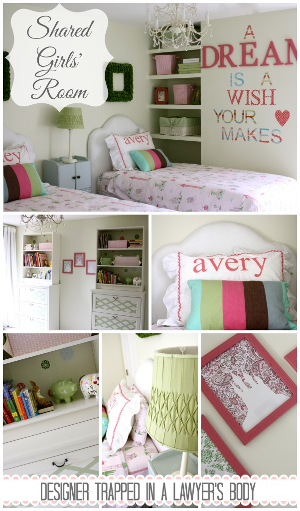 A tasteful princess, shared girls' room by Designer Trapped in a Lawyer's Body {www.designertrapped.com}