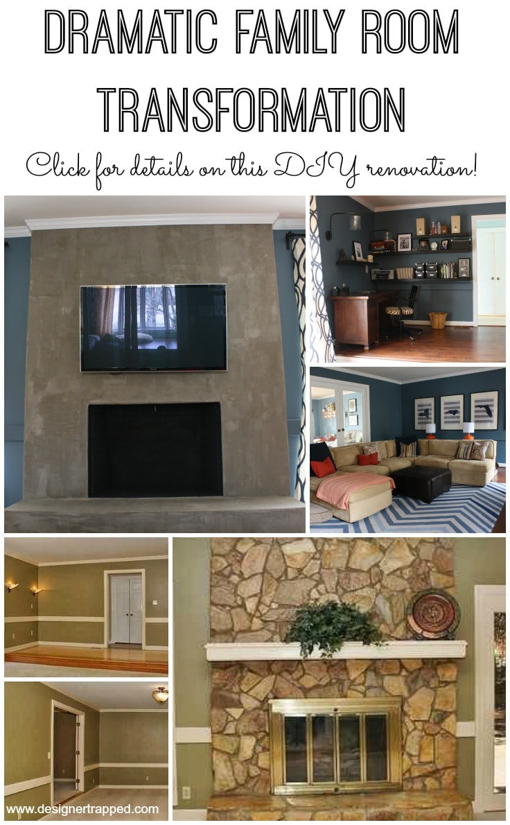 DIY Family Room Renovation by Designer Trapped in a Lawyer's Body {www.designertrapped.com}