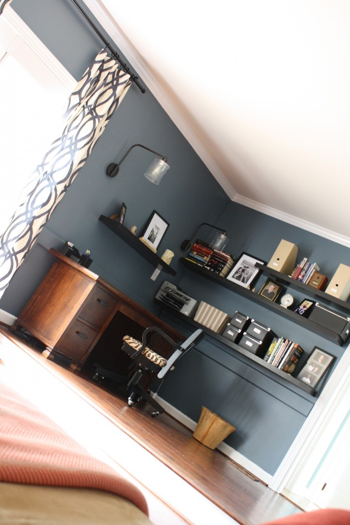 Dramatic, contemporary family room transformation by Designer Trapped in a Lawyer's Body {www.designertrapped.com}