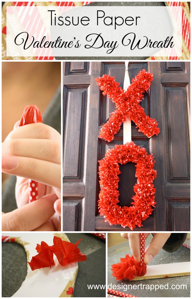 Tissue Paper Valentine's Day Wreath by Designer Trapped in a Lawyer's Body {www.designertrapped.com}