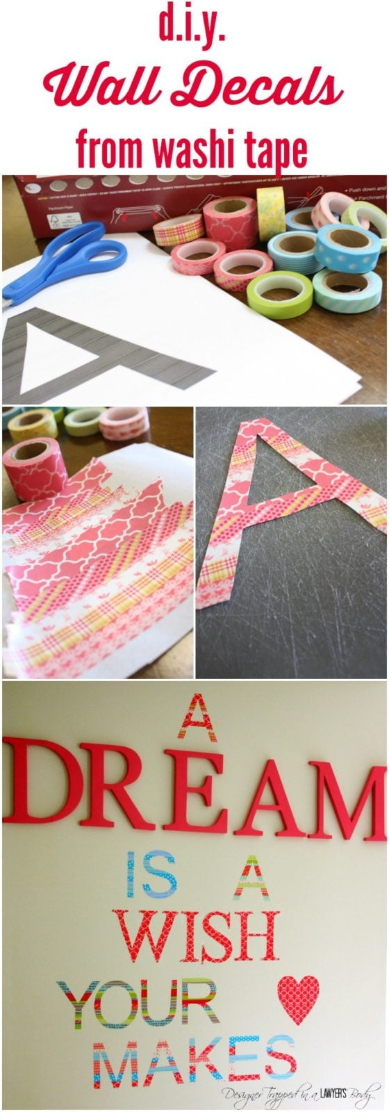 DIY Washi Tape Wall Decals Super Easy Adorable Designer Trapped - Make your own wall decal