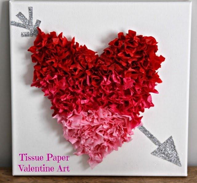 tissue paper valentine art