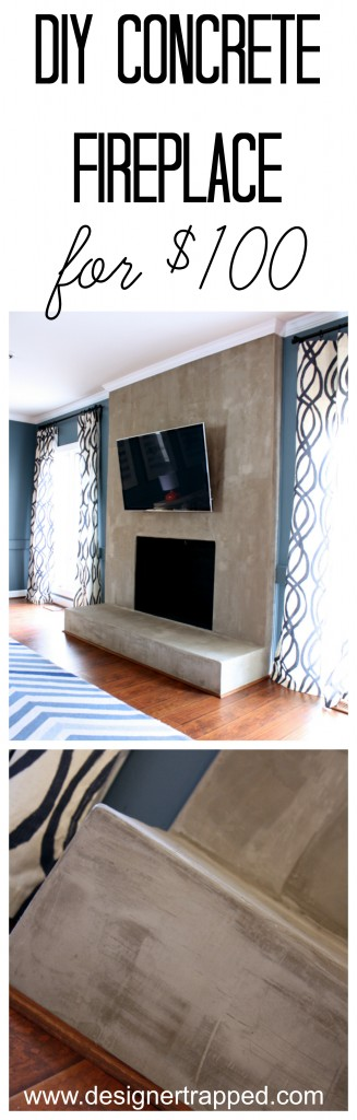 DIY Concrete Fireplace for less than $100. A full tutorial by Designer Trapped in a Lawyer's Body {www.designertrapped.com}