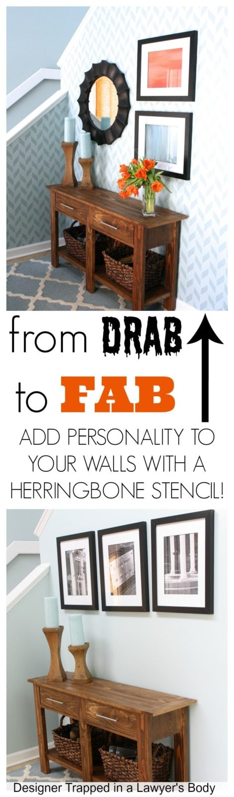 DIY Herringbone Stenciled Wall by Designer Trapped in a Lawyer's Body {www.designertrapped.com}