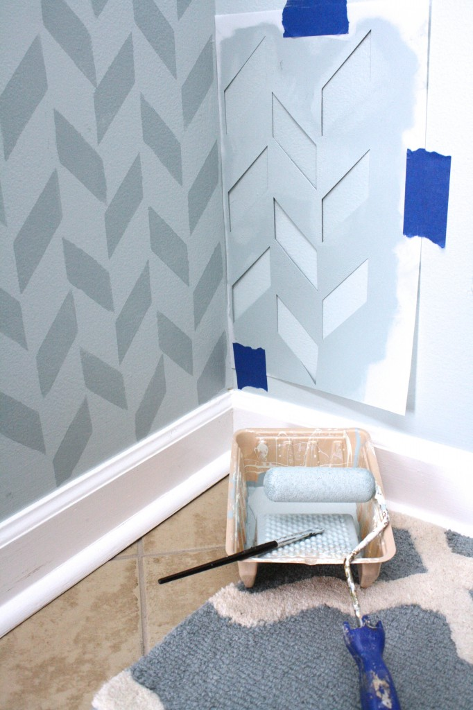Herringbone Wall by Designer Trapped in a Lawyer's Body {www.designertrapped.com}