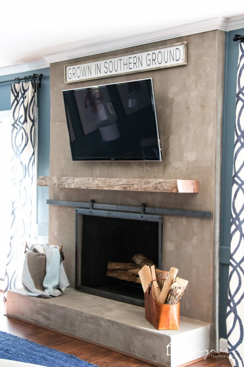 Diy concrete fireplace for less than 100 designertrapped concrete fireplace makeover solutioingenieria Gallery