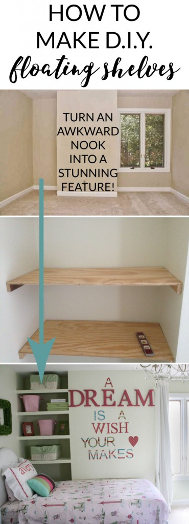 AWESOME! Use this DIY floating shelves tutorial to transform an awkward nook in your home into a stunning feature! Full tutorial by Designer Trapped in a Lawyer's Body!