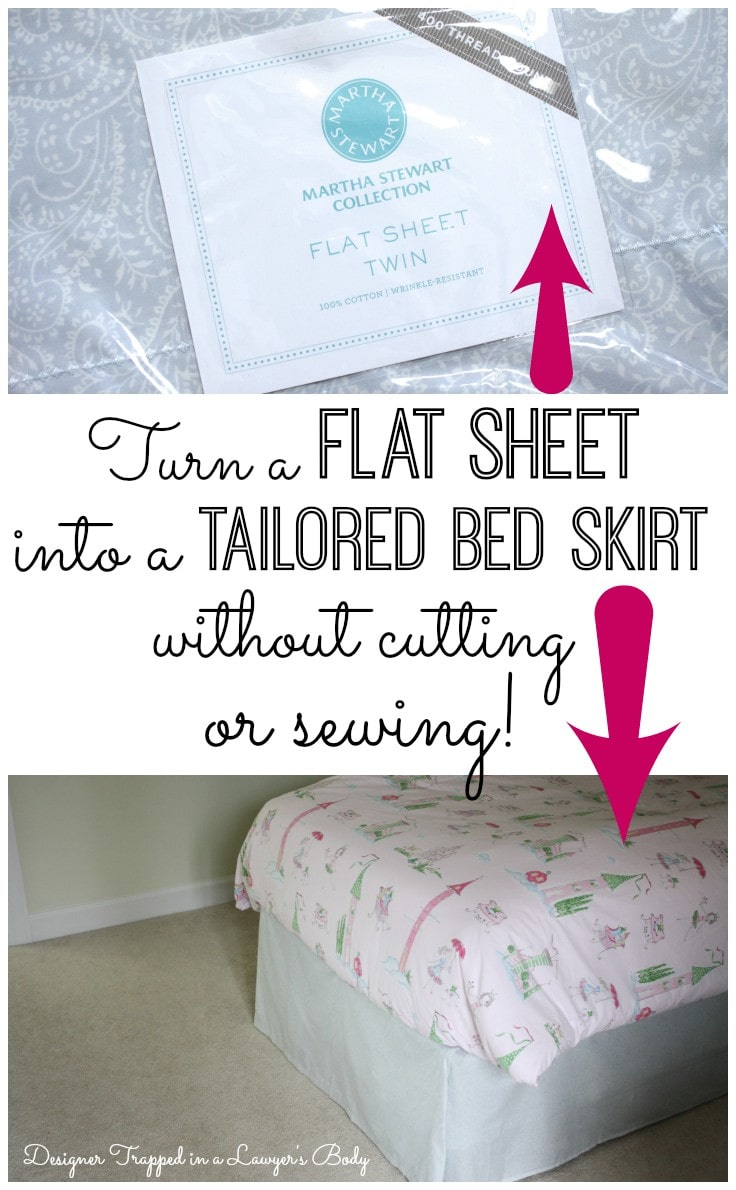 Cute DIY no sew bed skirt tutorial by Designer Trapped in a Lawyer us Body
