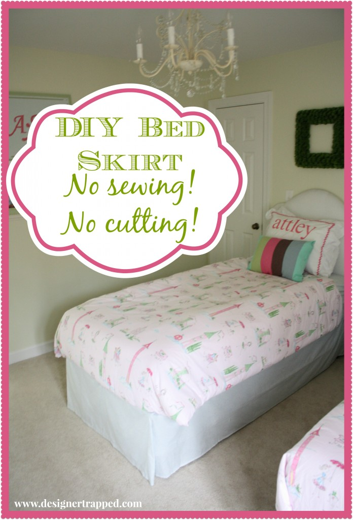 DIY no-sew bed skirt tutorial by Designer Trapped in a Lawyer's Body {www.desgnertrapped.com}