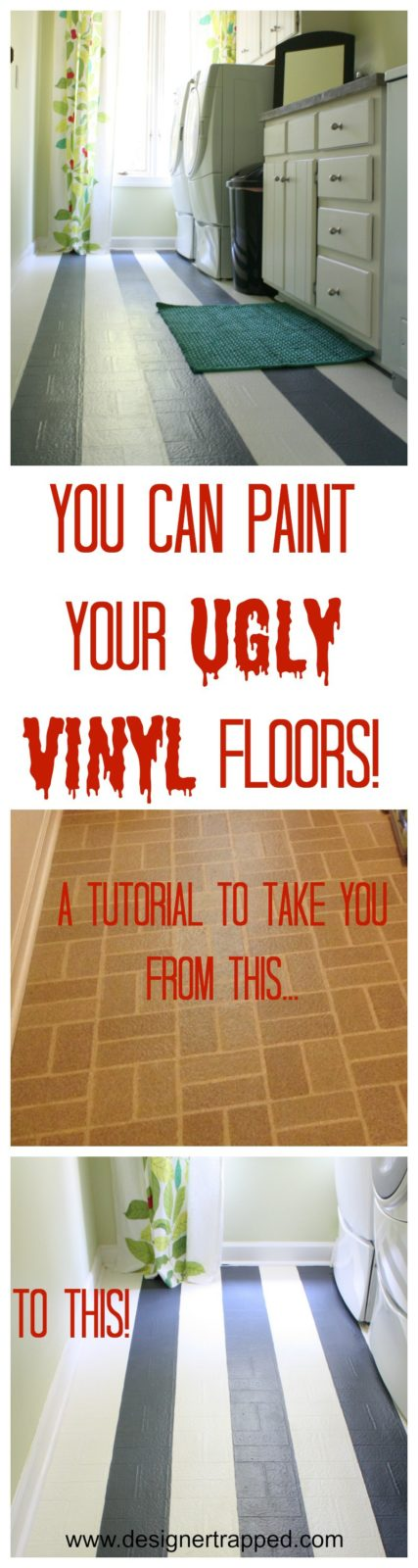 Learn to Paint Vinyl Floors!  A detailed tutorial by Designer Trapped in a Lawyer's Body {www.designertrapped.com}