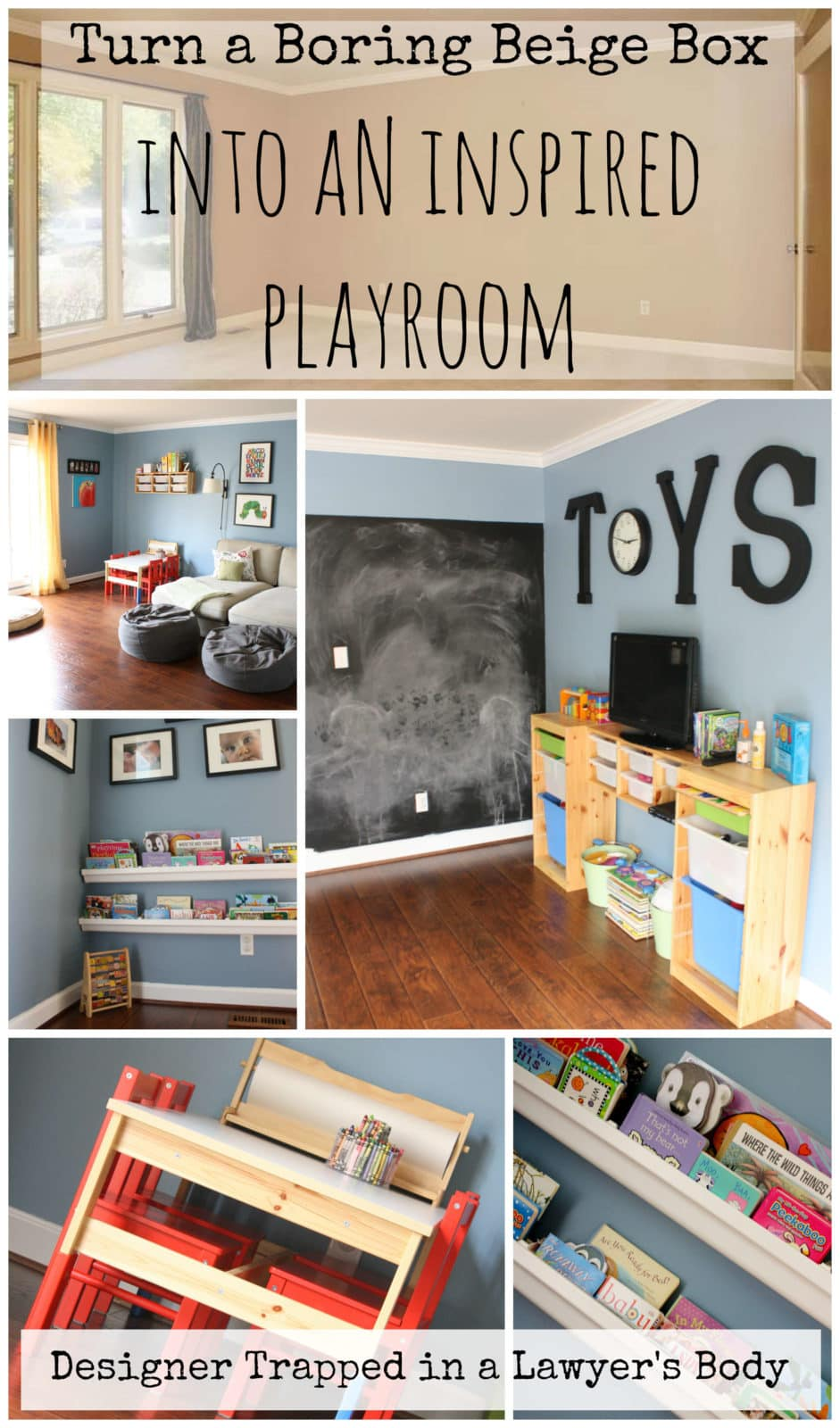 MUST PIN!  Create an inspired playroom for your kids!  Playroom reveal by Designer Trapped in a Lawyer's Body {www.designertrapped.com}