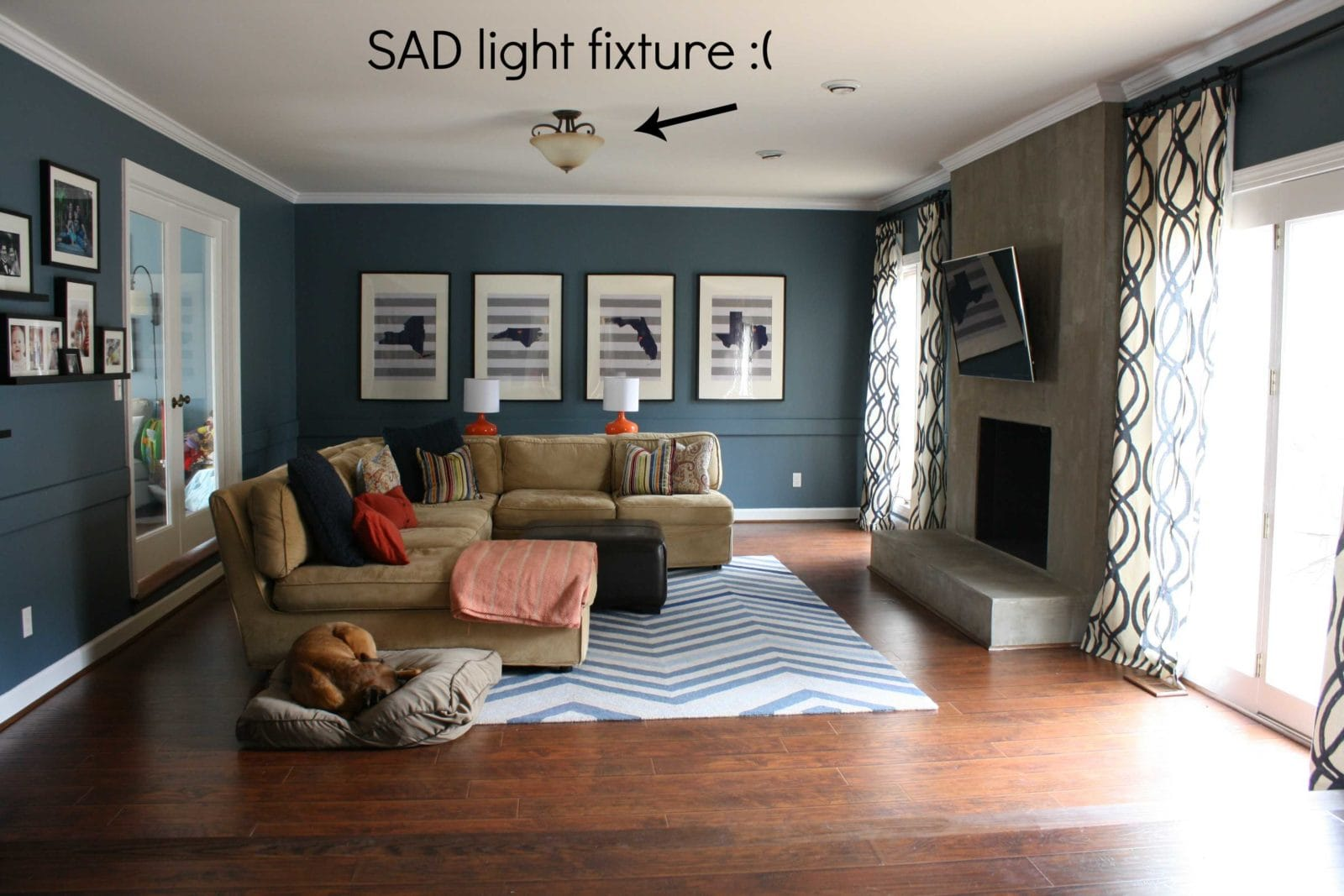 A stylish lighting update for the family room for Kid friendly family room design