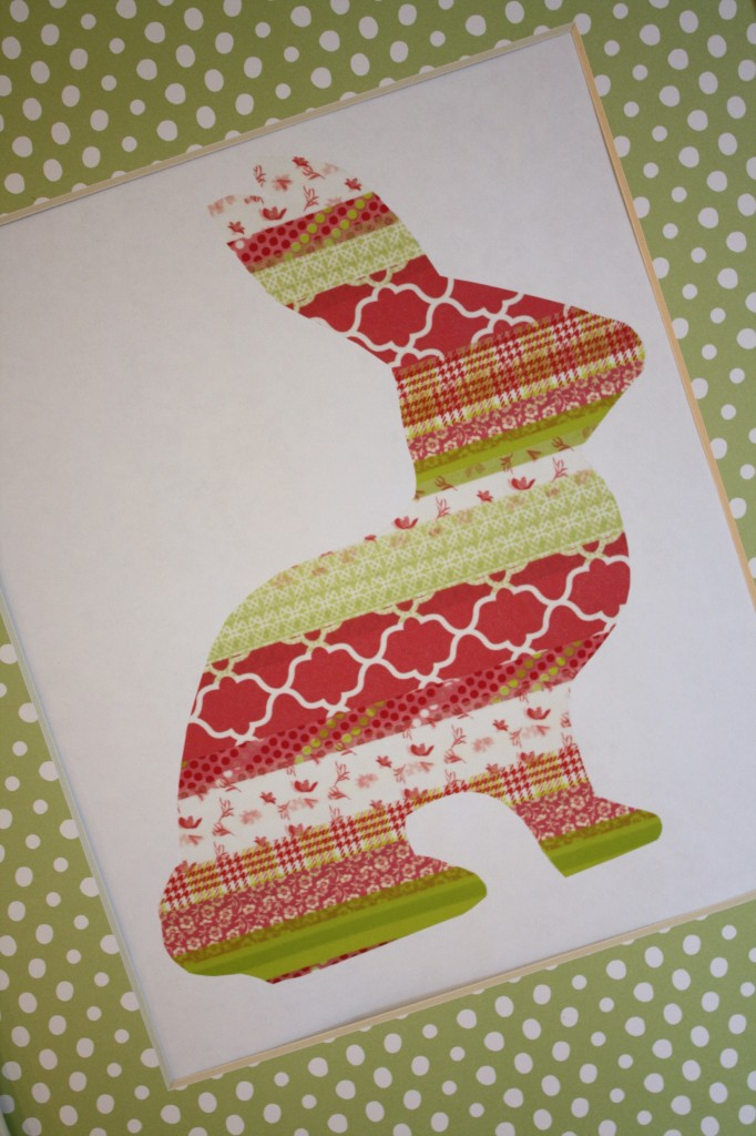 Washi tape bunny art by Designer Trapped in a Lawyer's Body.