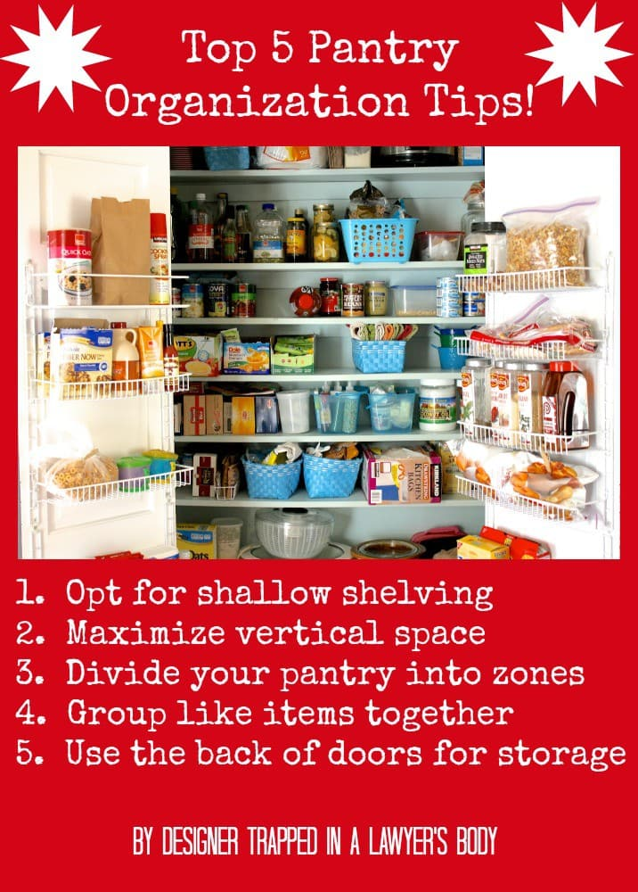 Pantry Organization tips by Designer Trapped in a Lawyer's Body {www.designertrapped.com}