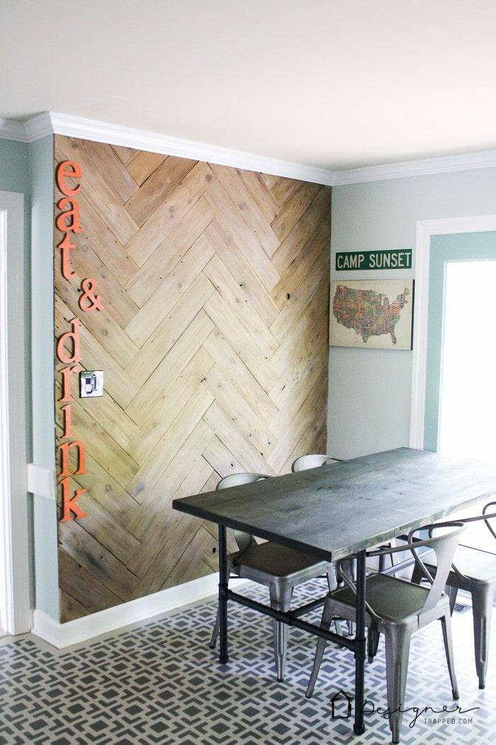 herringbone plank wall