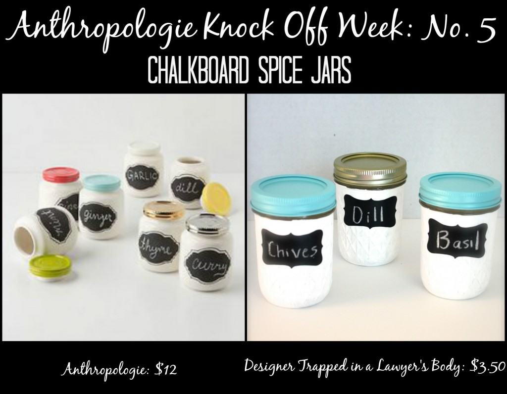 MUST PIN! Anthropologie Knock Off Chalkboard Spice Jars for a fraction of the price of the original! Full tutorial by Designer Trapped in a Lawyer's Body. #anthropologieknockoff