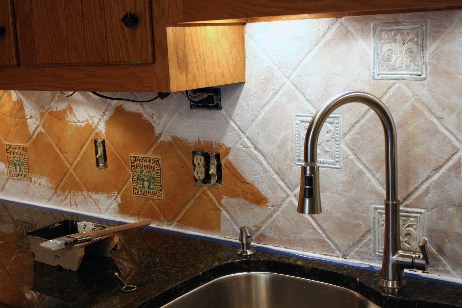How to paint a tile backsplash my budget solution for Can you paint over vinyl flooring