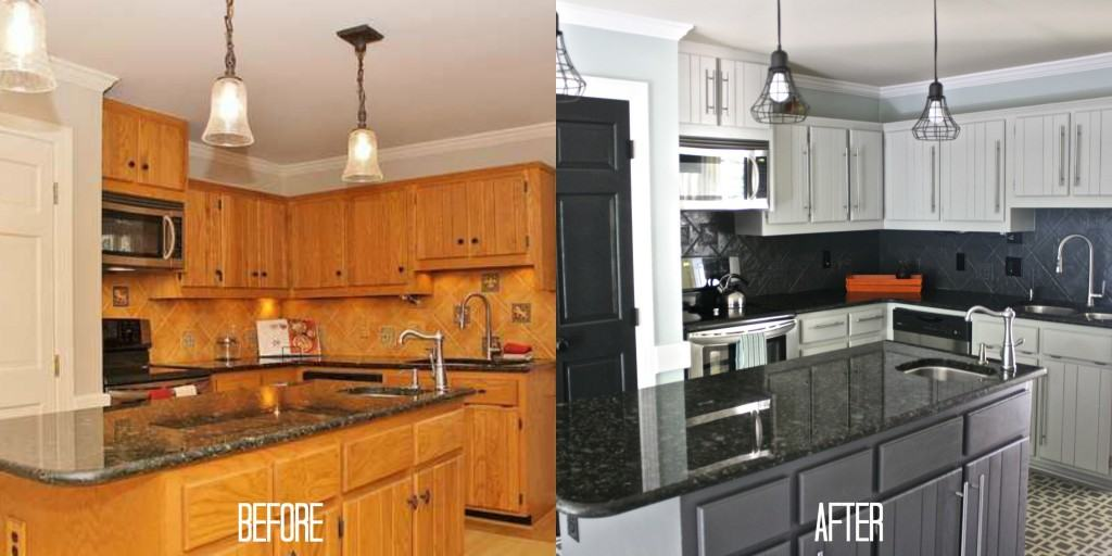 painted kitchen cabinets before and after photos paint old learn sanding or priming full diy gray
