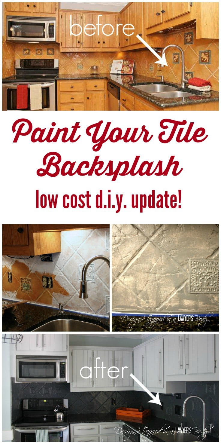 How to paint a tile backsplash my budget solution designer trapped you can paint your tile backsplash talk about a thrifty update dailygadgetfo Choice Image