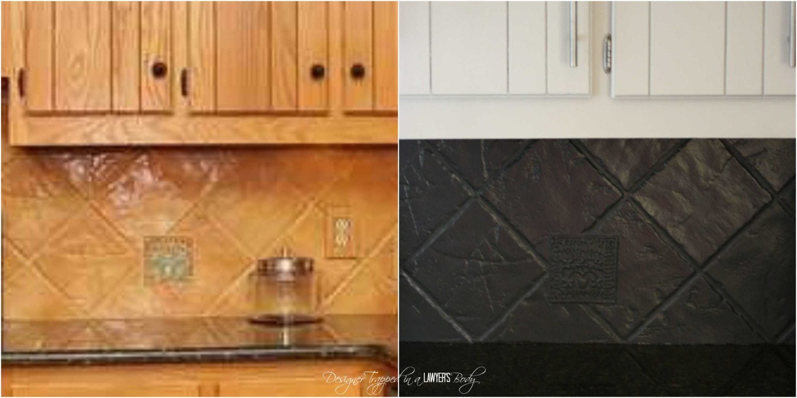 How To Paint A Tile Backsplash My Budget Solution Designer Trapped - Paint vinyl floor look like stone