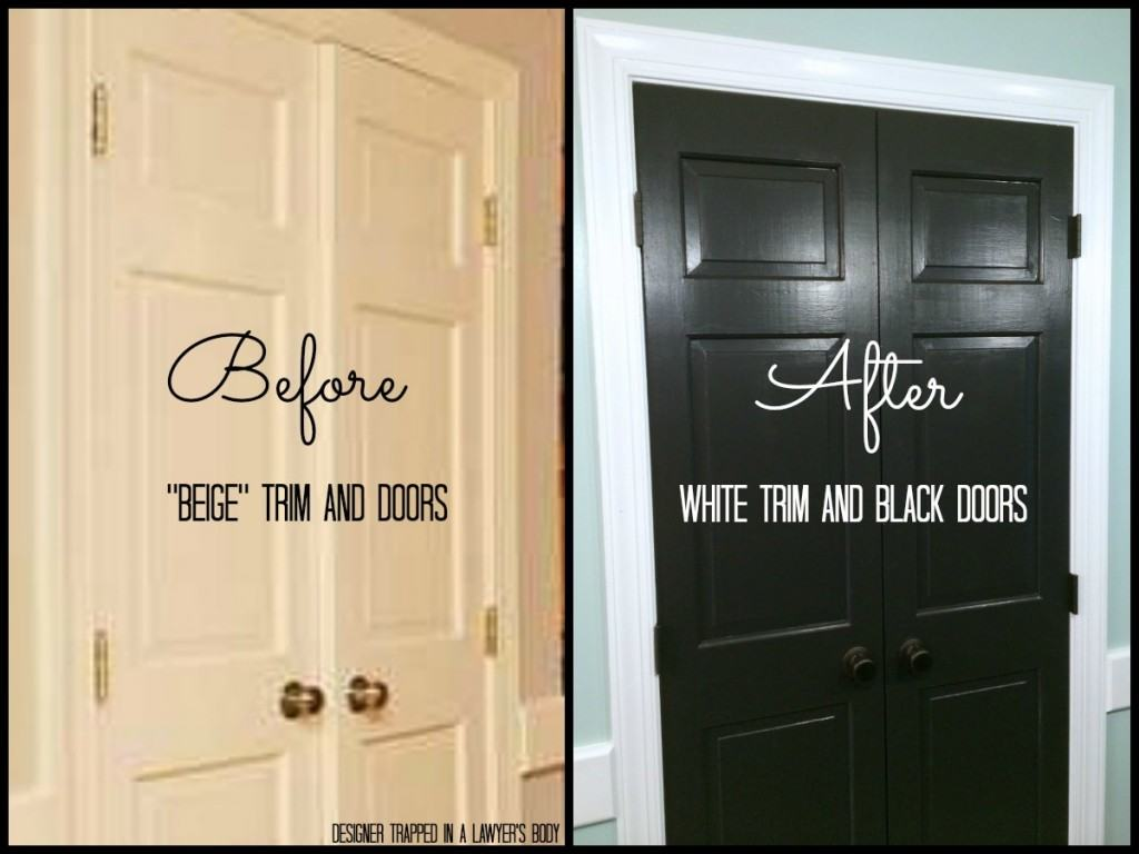 black doors and white trim easy project big impact designer trapped. Black Bedroom Furniture Sets. Home Design Ideas
