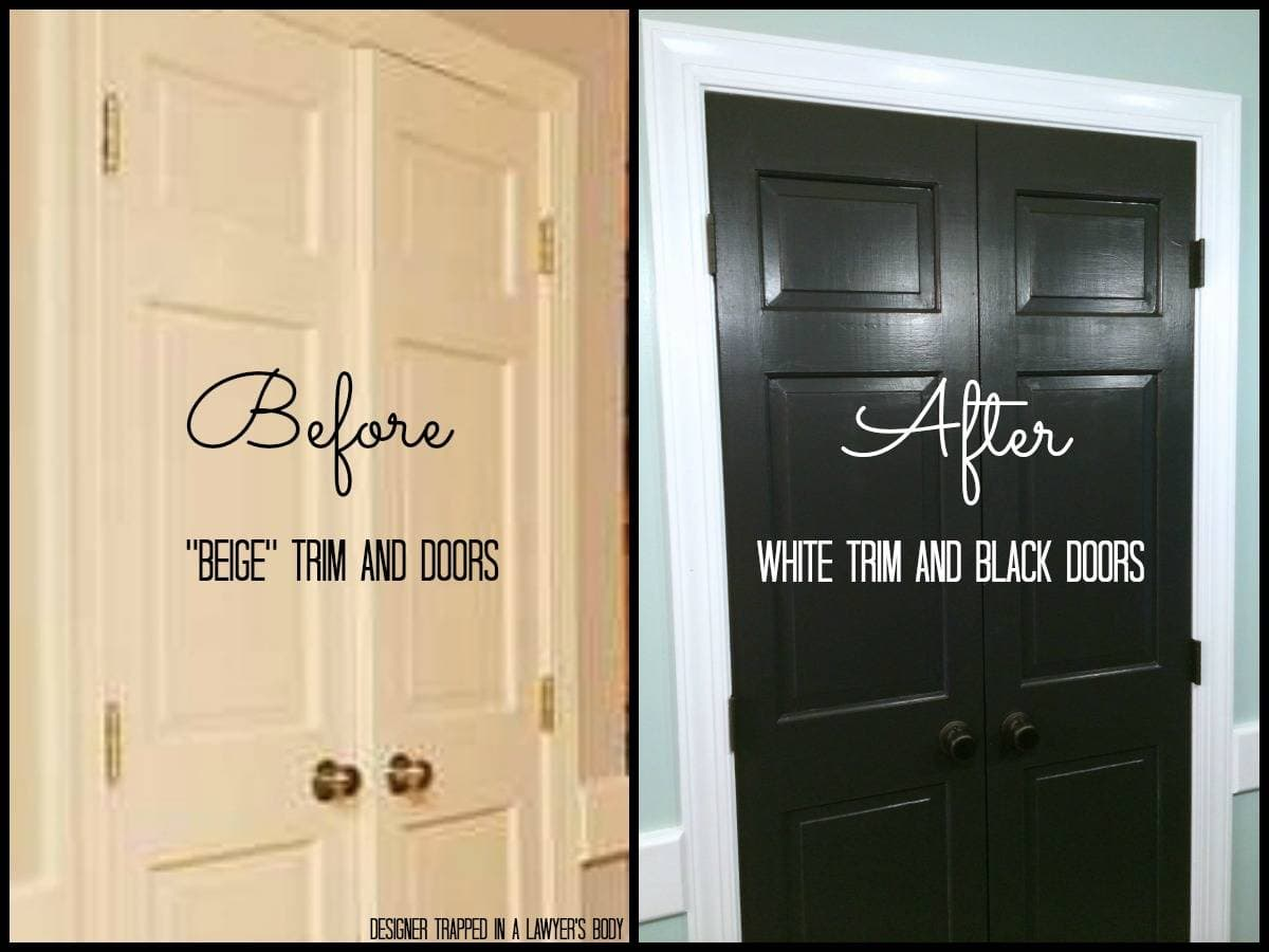 Painted trim and doors can make a HUGE impact! Full details by Designer  Trapped in