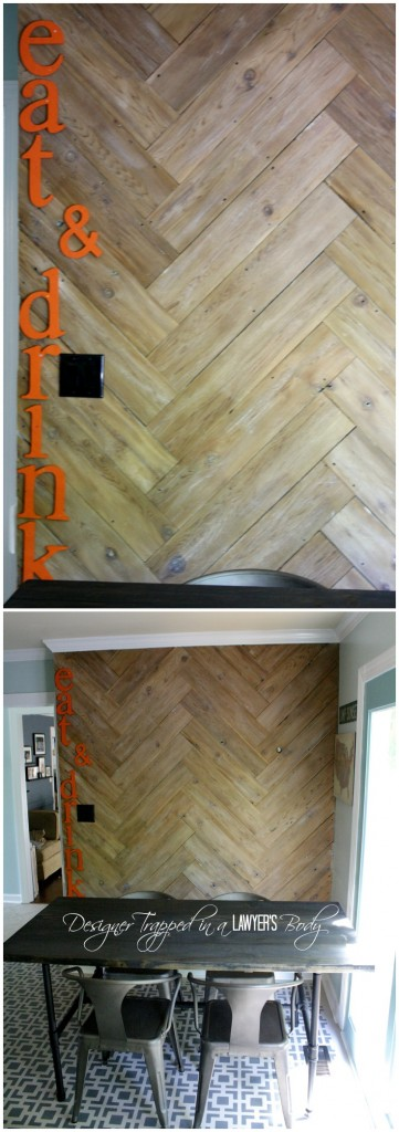 LOVE THIS HERRINGBONE PLANK WALL!  Such a cute eat-in area by Designer Trapped in a Lawyer's Body.
