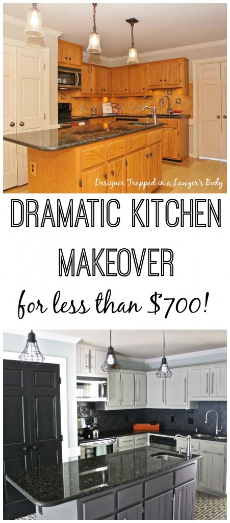 WOW! Budget kitchen remodel by Designer Trapped in a Lawyer's Body. Totally transformed with PAINT! #kitchenremodel