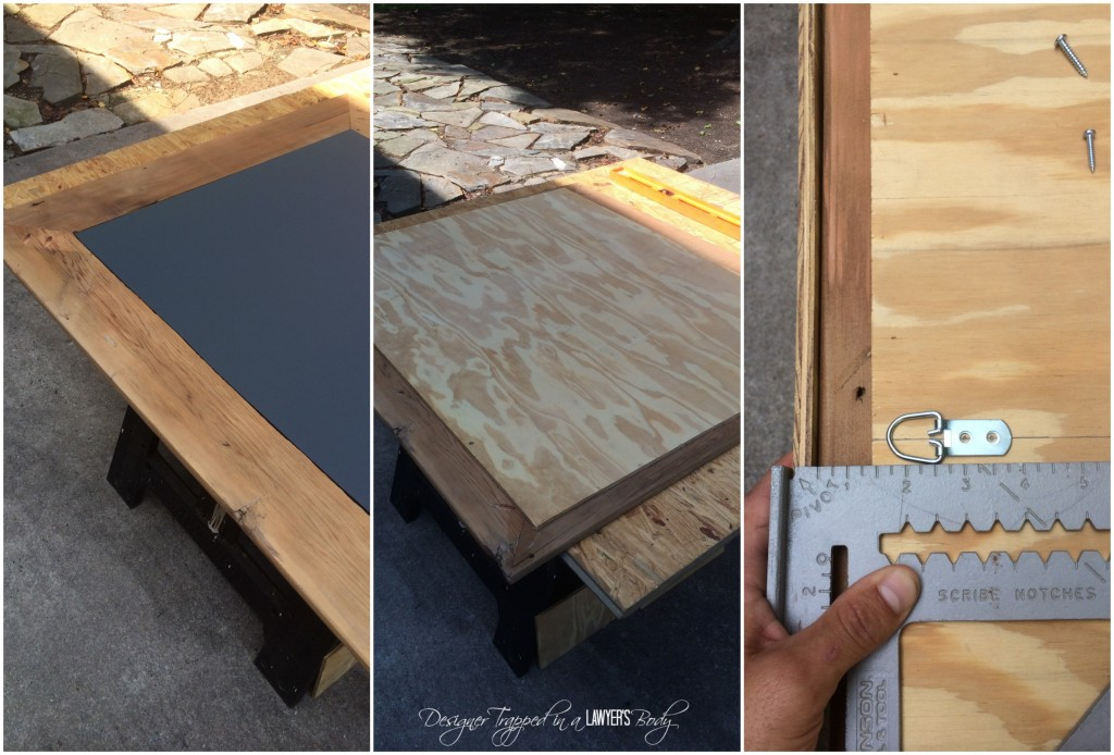 THIS IS AWESOME! Reclaimed wood mirror with concrete inlay! Full tutorial by Designer Trapped in a Lawyer's Body.