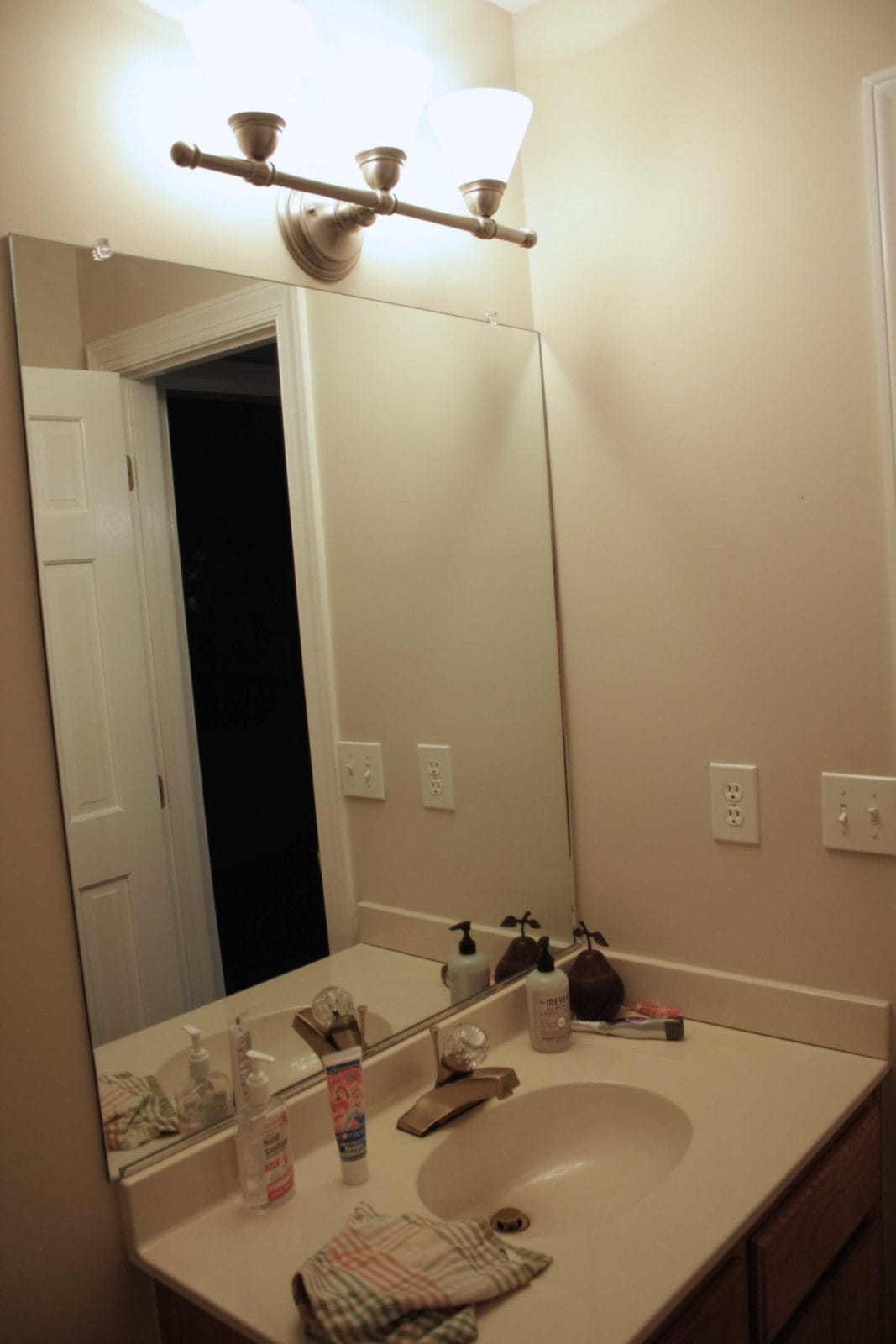 "Bathroom Lights For Mirrors new"" industrial bathroom lighting for our powder room! 