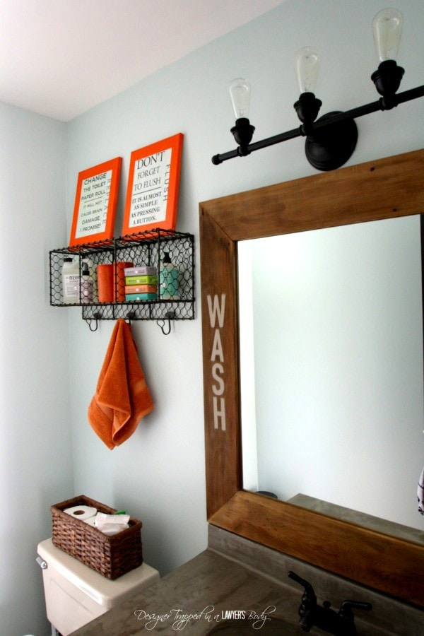 MUST PIN! Transform a builder grade mirror with wood and concrete! Full tutorial by Designer Trapped in a Lawyer's Body.
