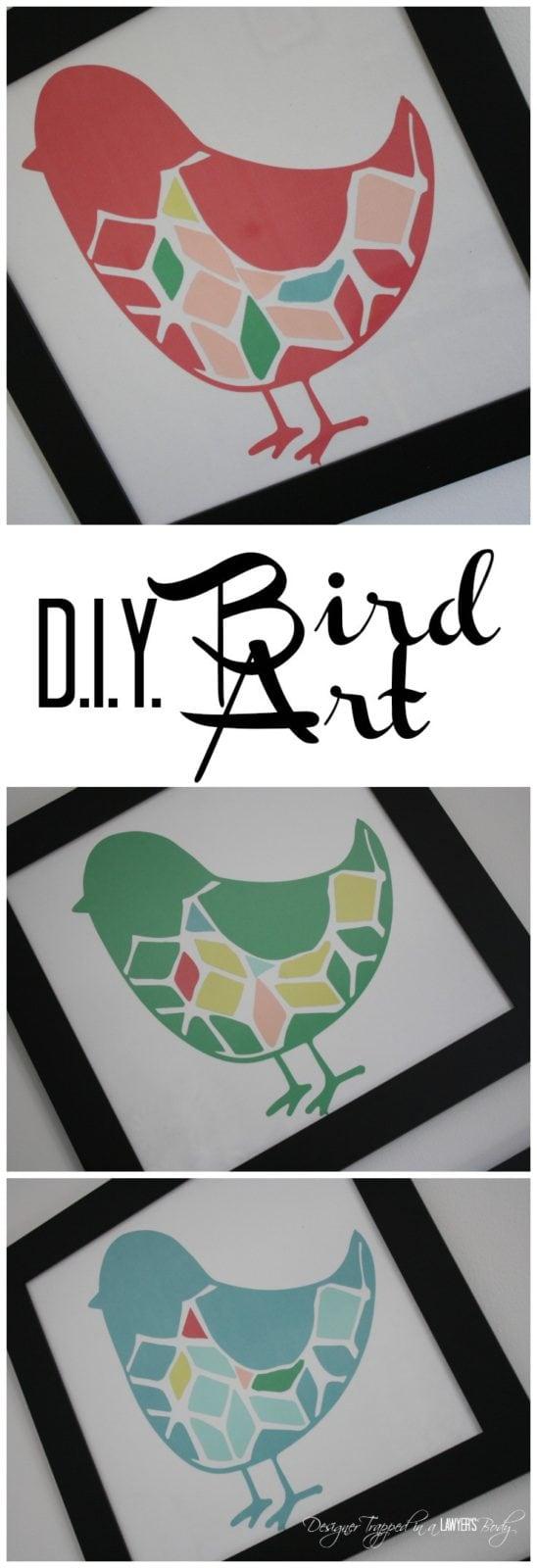 MUST PIN! Awesome DIY bird wall art--full tutorial. #diyart #birdart