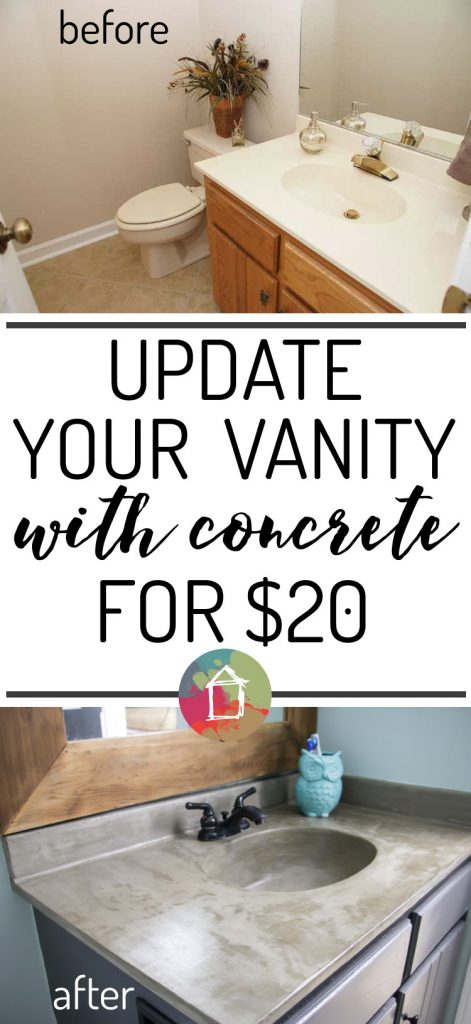 SERIOUSLY AMAZING! DIY vanity update using a concrete overlay without spending much money. I can't wait to try this!