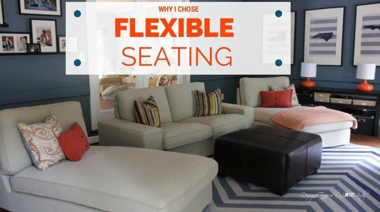 LOVE THIS! Flexible family room design--you can move the seating around as needed! #familyroomseating