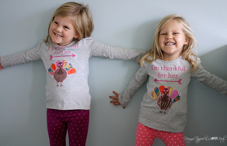CUTEST Thanksgiving Shirts ever! Come check out the full tutorial for these Turkey appliqué shirts by Designer Trapped in a Lawyer's Body!