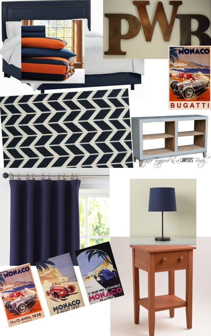 LOVE THIS Mood Board Featuring Bold Orange And Navy Boy Room Decor Ideas.  Check Out Part 91