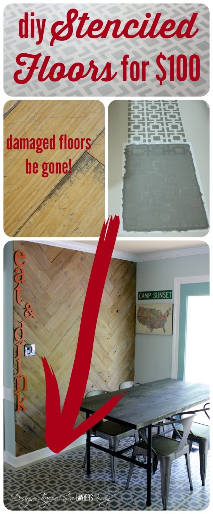 AMAZING! Do you have badly damaged wood floors that you can afford to refinish? This is a great option! Love the look of these stenciled floors! Check out the full tutorial by Designer Trapped in a Lawyer's Body.