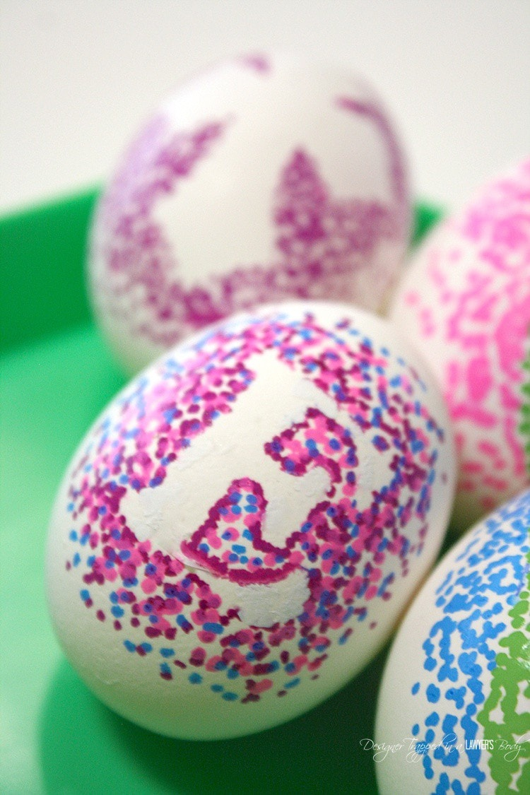 Easy Dotted Sharpie Easter Eggs