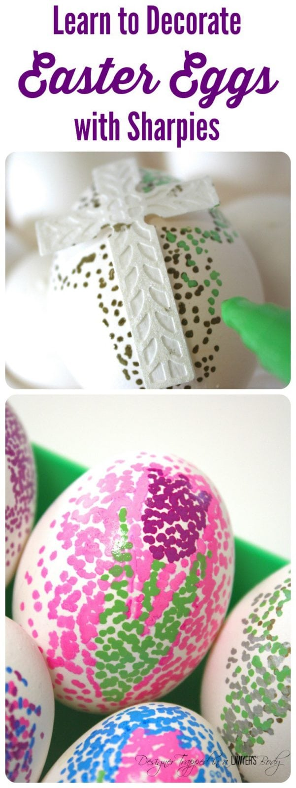 Easter egg decorating doesn't have to be complicated or messy! Learn how to make easy, dotted Sharpie Easter eggs with this simple tutorial! #eastereggs #eastereggdecorating.