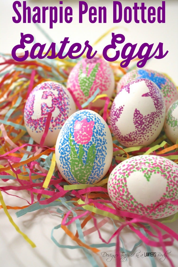Easter egg decorating doesn't have to be complicated or messy! Learn how to make easy, dotted Sharpie Easter eggs with this simple tutorial! #eastereggs #eastereggdecorating