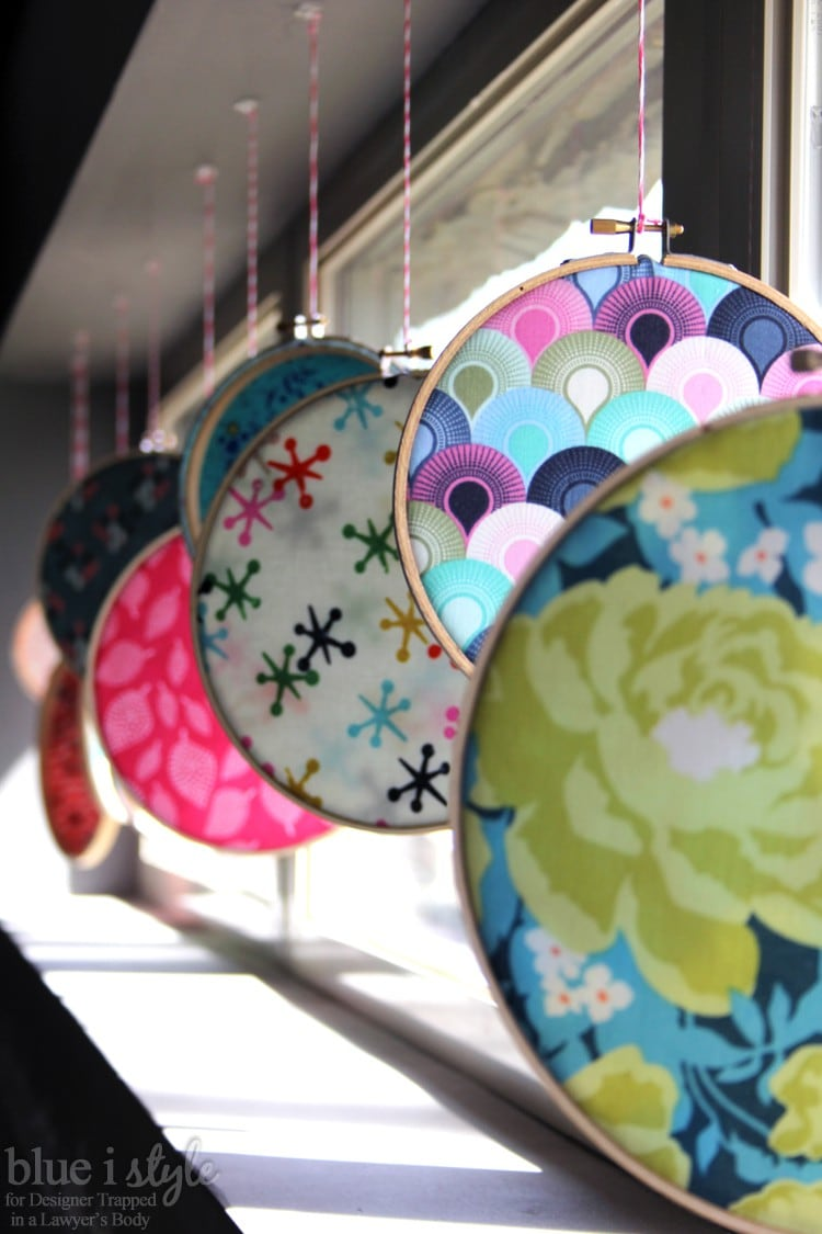 Colorful embroidery hoop art display for spring