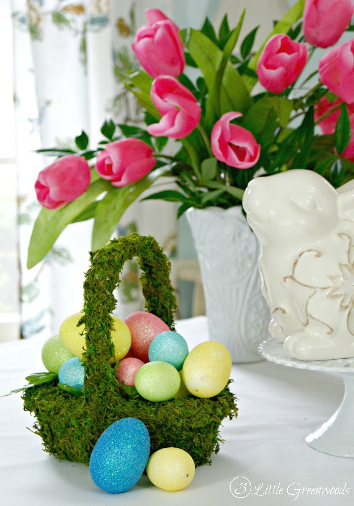 Moss Covered Basket ~ Simple DIY Easter Basket! Perfect for an Easter Tablescape! by 3 Little Greenwoods