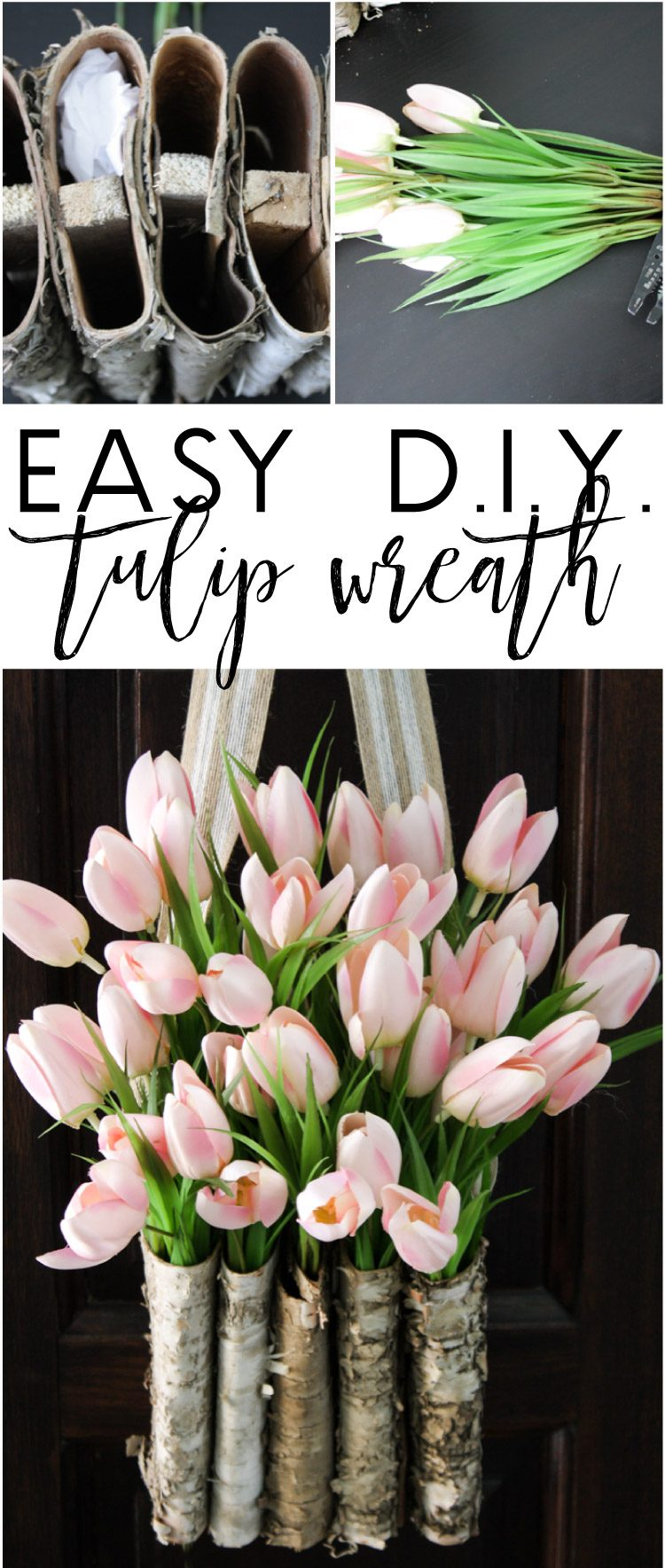 This is STUNNING! Learn to create a DIY tulip wreath with this full tutorial. It is easy and only takes 10 minutes! Tulip door wreaths are the perfect decoration for spring. Learn how to make door wreaths with this simple and fun tulip wreath tutorial!