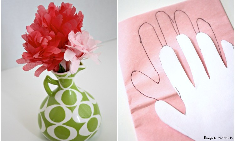Handprint Flowers Made from Tissue Paper