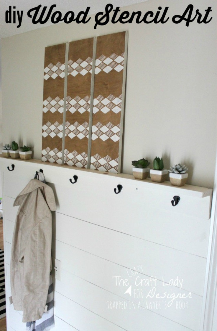 This is Awesome! Turn scrap wood into DIY stencil wall art with stain, paint, and (of course) a stencil!