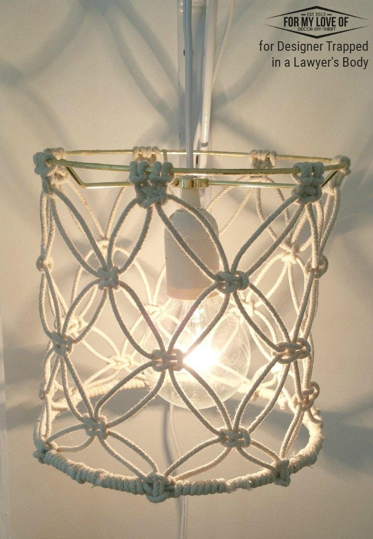 Diy macrame lamp shade tutorial for Diy wall lamp shade