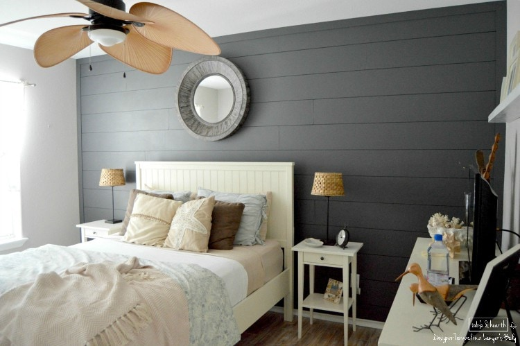 SO PRETTY! Add a focal point and interest to your room in just a weekend with this EASY tutorial for installing your own plank wall by Table & Hearth for Designer Trapped in a Lawyer's Body!